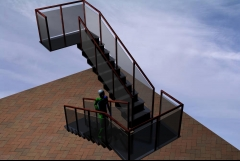 Escalera doble acristalada