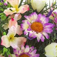 Ramo flores artificiales malva margaritas rosas alstroemerias grande en la llimona home (1)
