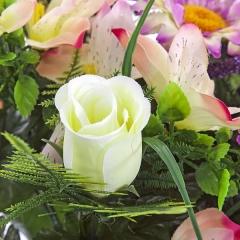 Ramo flores artificiales malva margaritas rosas alstroemerias grande en la llimona home (2)