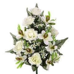 Todos los santos. ramo artificial flores orquideas y rosas blancas abiertas en la llimona home