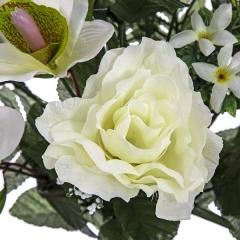 Todos los santos. ramo artificial flores orquideas y rosas blancas abiertas en la llimona (1)