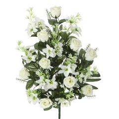 Todos los santos. ramo artificial flores rosas blancas orquideas peque�as en la llimona home