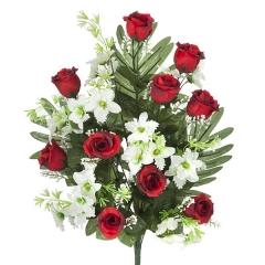 Todos los santos. ramo artificial flores rosas rojas orquideas peque�as en la llimona home