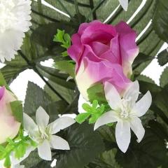 Todos los santos. ramo artificial flores rosas malva con claveles en la llimona home (1)