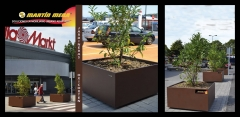 Jardineras OXICORTEN.C.C.BILBONDO .Ejemplo de proyecto realizado.Personalización  mobiliario urbano