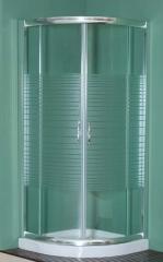 Mampara de ducha en aluminio plata brillo y vidrio templado y serigrafiado.