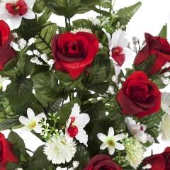 Todos los santos. ramo artificial flores rosas rojas y orquideas peque�as 65 en la llimona (2)