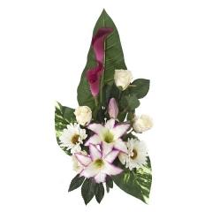 Todos los santos> ramo artificial flores tiger lily rosa con gerberas y calas en la llimona home