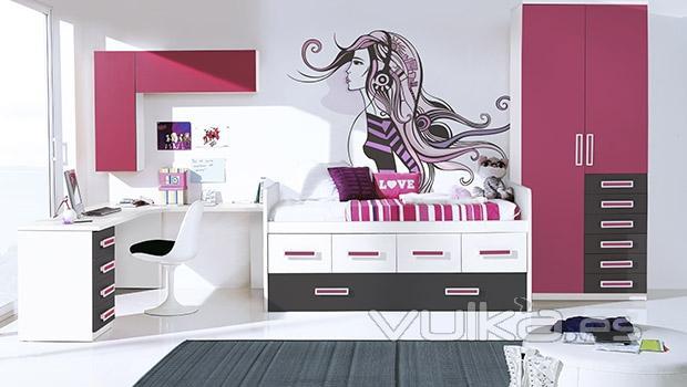 Foto habitacion juvenil con vinilo decorativo del for Vinilos para habitaciones de ninas