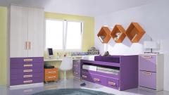 Dormitorio juvenil en colores lila y morados