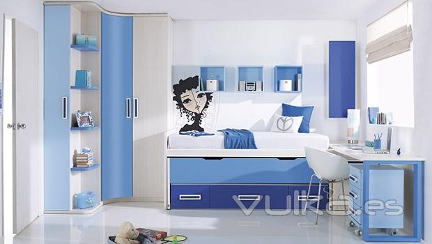 Foto habitacion juvenil en colores azules y blancos - Colores habitacion juvenil ...