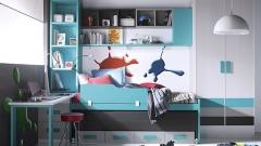 Habitacion juvenil con colores azules