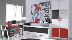 Muebles juveniles con armario con puertas paneladas en color