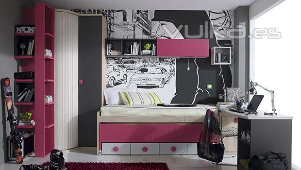 Foto dormitorio juvenil con armario rinc n y compacto con - Dormitorio juvenil con dos camas ...