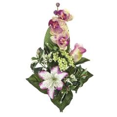 Ramos artificiales. ramo artificial flores orquideas malvas con lilium y rosa en la llimona home