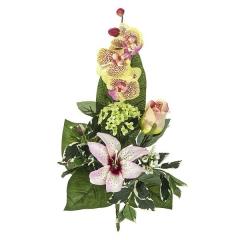 Ramos artificiales. ramo artificial flores orquideas rosas con lilium y rosa en la llimona