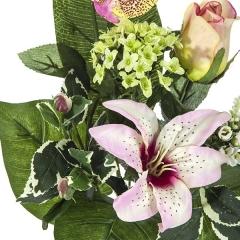 Ramos artificiales. ramo artificial flores orquideas rosas con lilium y rosa en la llimona home (1)