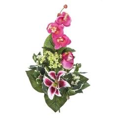 Ramos artificiales. ramo artificial flores orquideas fucsias con lilium y rosa en la llimona home