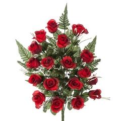 Todos los santos. ramo artificial flores rosas abiertas rojas en la llimona home