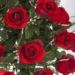 Todos los santos. ramo artificial flores rosas abiertas rojas en la llimona home (1)