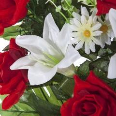 Todos los santos. ramo artificial flores lily con rosas rojas en la llimona home (2)