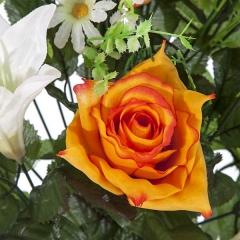 Todos los santos. ramo artificial flores lily con rosas naranjas en la llimona home (1)