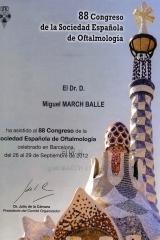 Diploma 88� congreso sociedad espa�ola de oftalmolog�a. sept. 2012. barcelona.