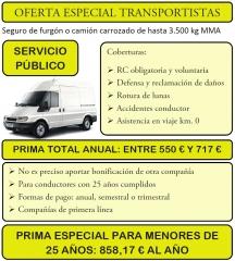 Oferta seguros furgoneta o furgón servicio público sp muy baratos con las mejores compañías