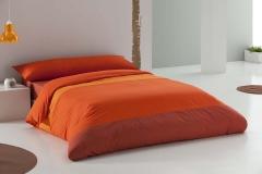 Juego de funda nordica liso tricolor naranja