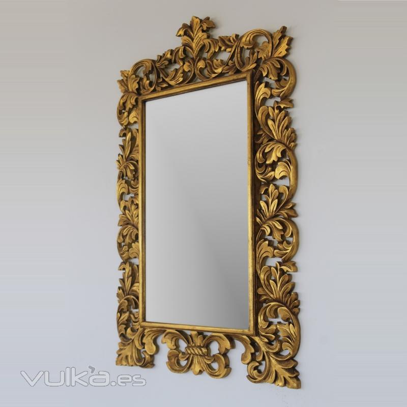 Foto espejo barroco dorado madera natural artesanal for Espejos decorativos dorados
