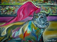 El toro y el capote. pintura al �leo. olivier rodriguez. madrid