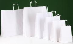 Bolsas de papel celulosa blanca con asa rizada o plana