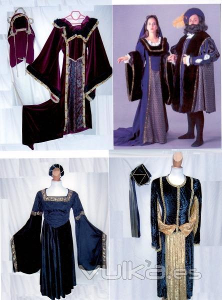Trajes medievales carnaval, teatro en alquiler y venta