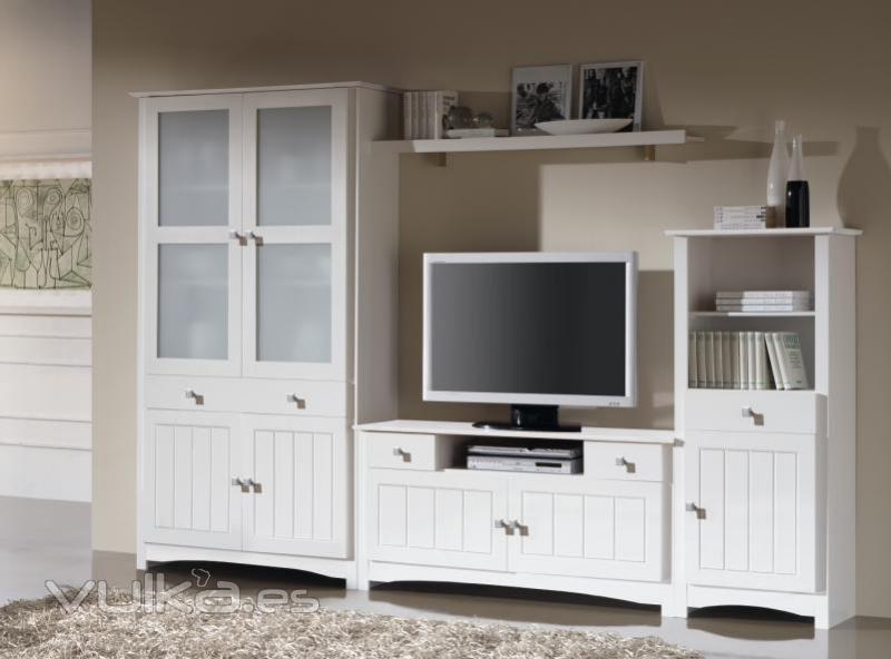 Foto muebles blancos salon for Muebles de salon blancos baratos