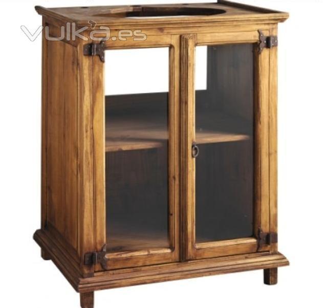 Foto mueble ba o rustico cristal for Muebles de bano rusticos baratos