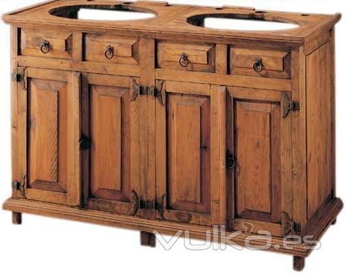 Foto mueble ba o doble rustico for Muebles de bano rusticos baratos
