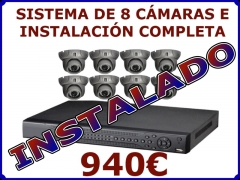 Sistema de 8 cámaras con instalación completa 940eur