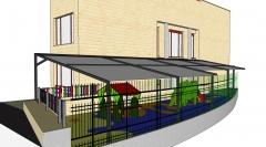 Proyecto de toldo de grandes dimensiones y altas prestaciones para patio de ikastola