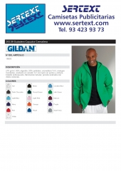 Sudadera capucha cremallera Gildan 18600