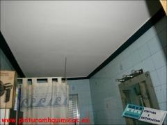 Pintura plastica mate en techo color blanco y moldura color azul oscuro