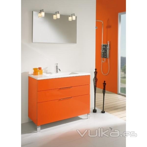 Foto mueble de ba o ronda de 100 cm color naranja for Accesorios bano color naranja