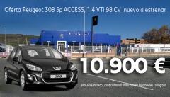 oferta especial Peugeot 308 5p ACCESS,Gris Hurricane, 1.4 VTi 98 CV ,nuevo a estrenar en 10.900EUR