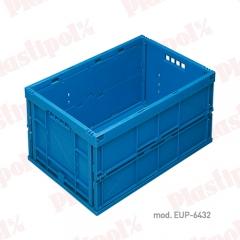 Caja de pl�stico apilable y plegable norma europa (ref. eup-6432)