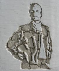 Hombre en relieve tallado en la pared