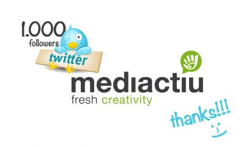 Nuestro estudio de diseño gráfico ya tiene 1000 seguidores en twitter!!!