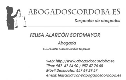ABOGADA ALARCÓN SOTOMAYOR FELISA, ABOGADOS CORDOBA