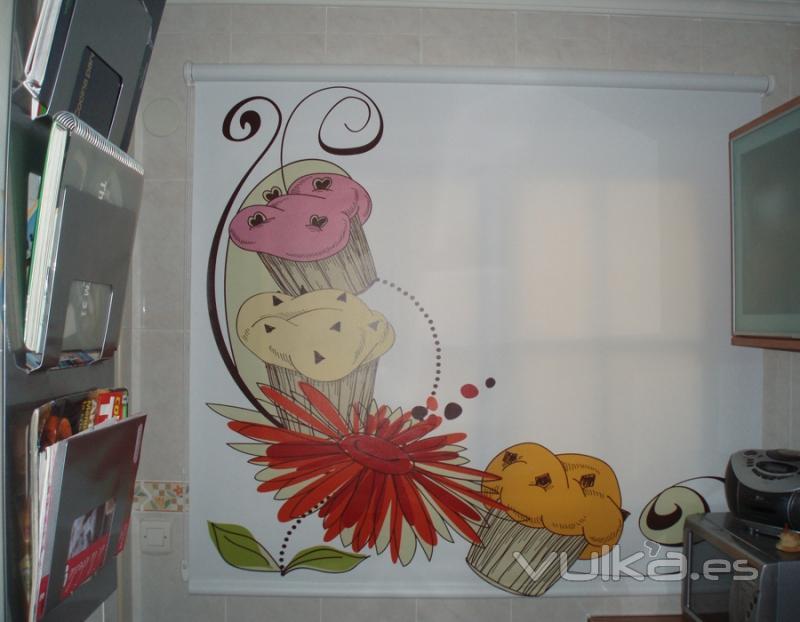 Foto estor enrollable con impresion digital cocina para comersela tejido opaco loneta - Estores con dibujos ...