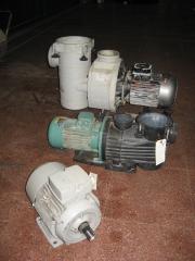 Motor eléctrico y bombas de piscina.
