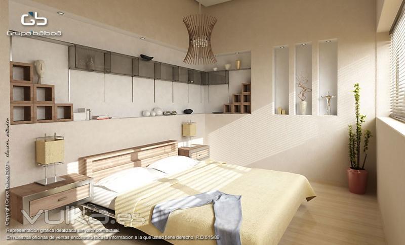 Imagen 3D de un dormitorio