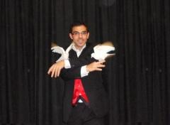 Magia con palomas .